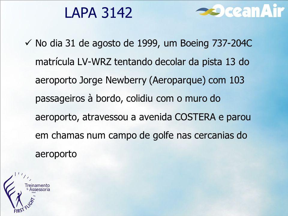 No dia 31 de agosto de 1999, um Boeing 737-204C matrícula LV-WRZ tentando decolar da pista 13 do aeroporto Jorge Newberry (Aeroparque) com 103 passage