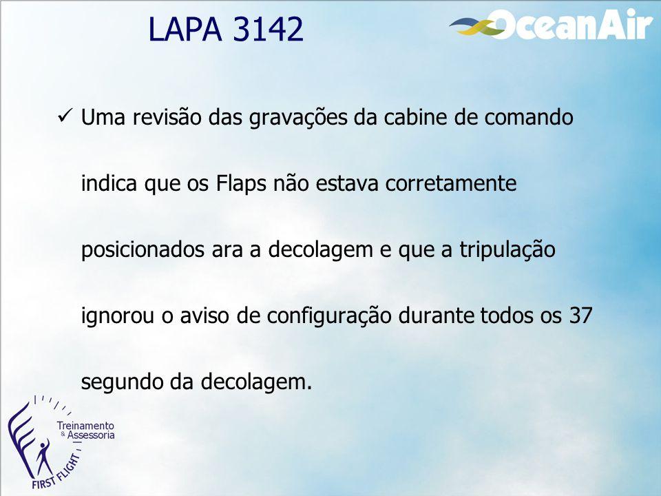 LAPA 3142 Uma revisão das gravações da cabine de comando indica que os Flaps não estava corretamente posicionados ara a decolagem e que a tripulação i