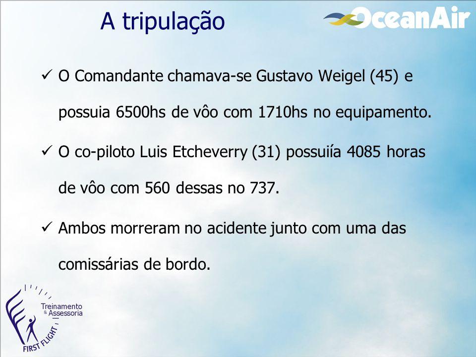 A tripulação O Comandante chamava-se Gustavo Weigel (45) e possuia 6500hs de vôo com 1710hs no equipamento. O co-piloto Luis Etcheverry (31) possuiía