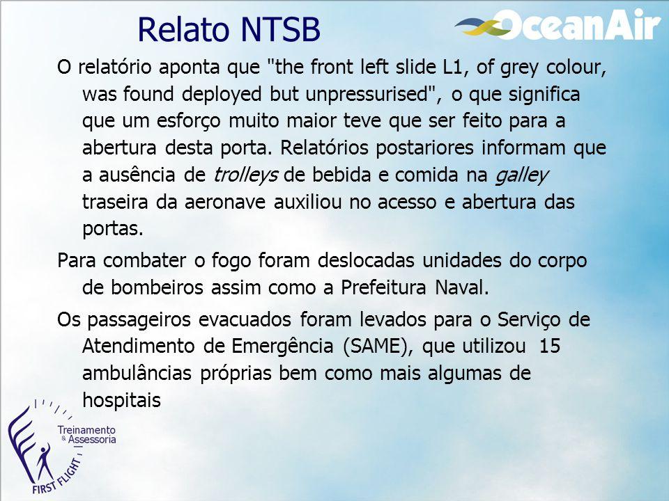 Relato NTSB O relatório aponta que