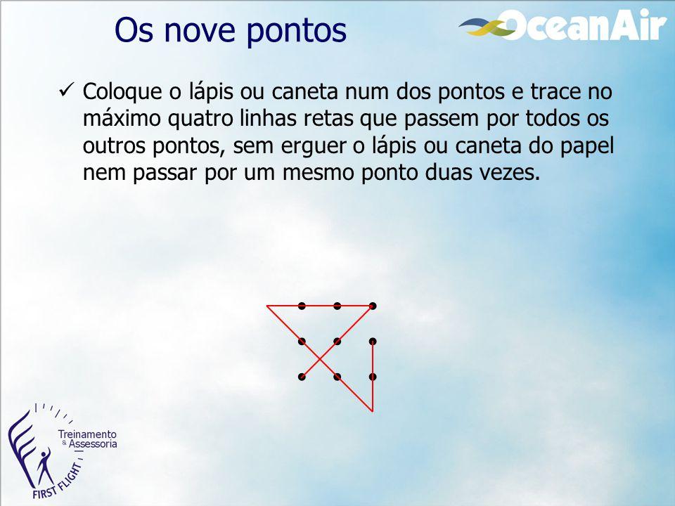 Os nove pontos Coloque o lápis ou caneta num dos pontos e trace no máximo quatro linhas retas que passem por todos os outros pontos, sem erguer o lápi