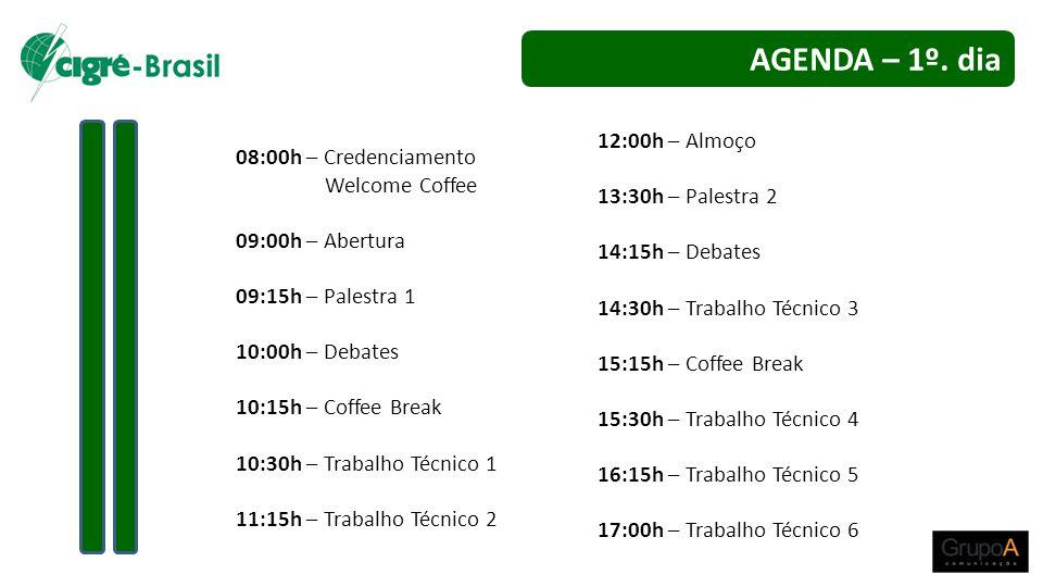 08:00h – Credenciamento Welcome Coffee 09:00h – Abertura 09:15h – Palestra 1 10:00h – Debates 10:15h – Coffee Break 10:30h – Trabalho Técnico 1 11:15h