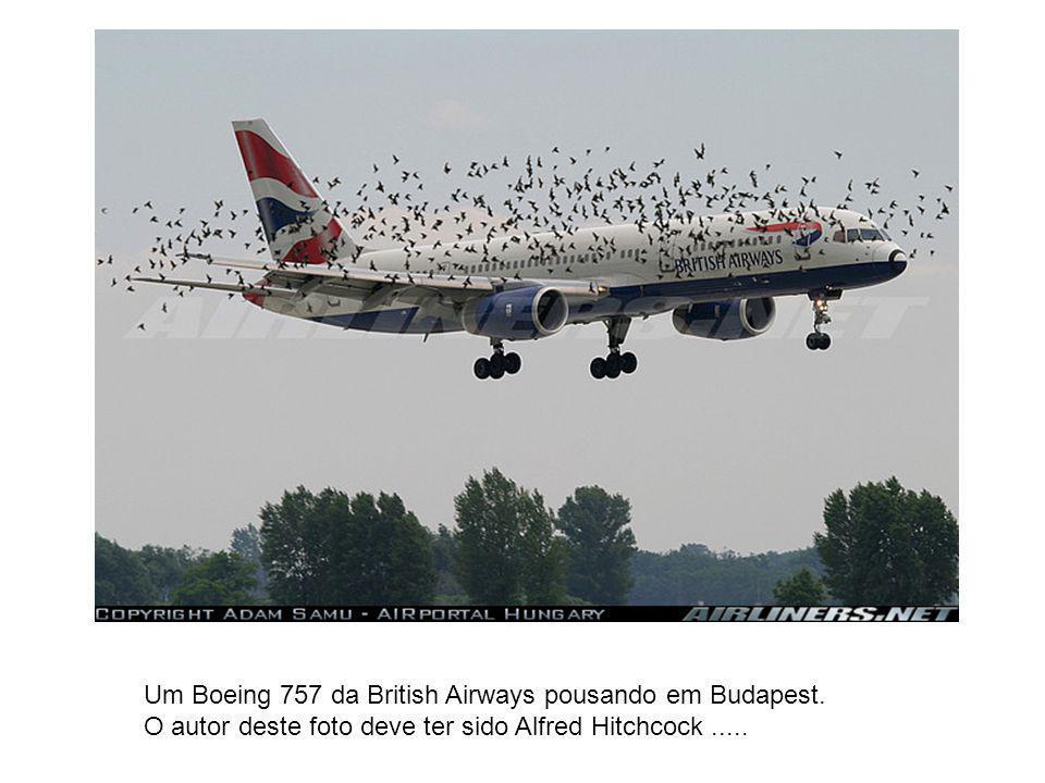 Um Boeing 757 da British Airways pousando em Budapest. O autor deste foto deve ter sido Alfred Hitchcock.....