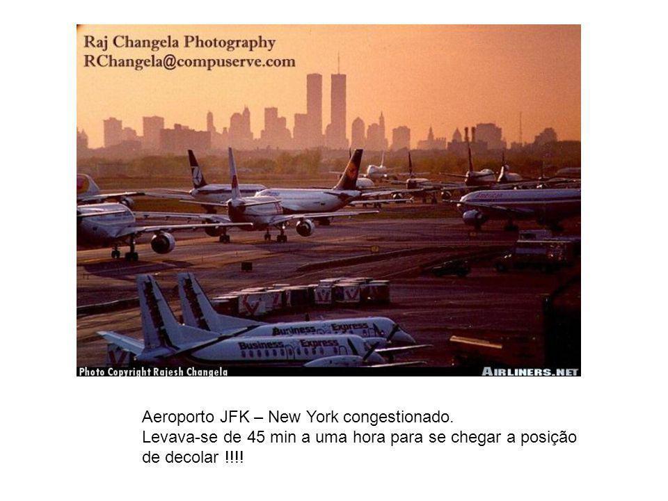 Aeroporto JFK – New York congestionado. Levava-se de 45 min a uma hora para se chegar a posição de decolar !!!!