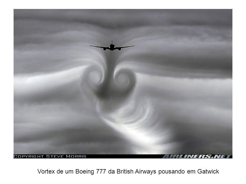 Vortex de um Boeing 777 da British Airways pousando em Gatwick