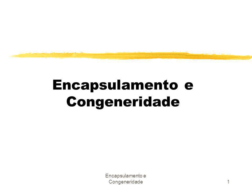 Encapsulamento e Congeneridade12 Lista de congeneridade (não exaustiva): zCongeneridade de nome zCongeneridade de tipo ou classe zCongeneridade de convenção zCongeneridade de algoritmo zCongeneridade de posição zCongeneridade de execução zCongeneridade temporal zCongeneridade de valor zCongeneridade de identidade