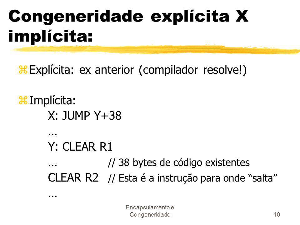 Encapsulamento e Congeneridade10 Congeneridade explícita X implícita: zExplícita: ex anterior (compilador resolve!) zImplícita: X: JUMP Y+38 … Y: CLEA