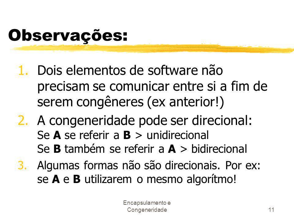 Encapsulamento e Congeneridade11 Observações: 1.Dois elementos de software não precisam se comunicar entre si a fim de serem congêneres (ex anterior!)