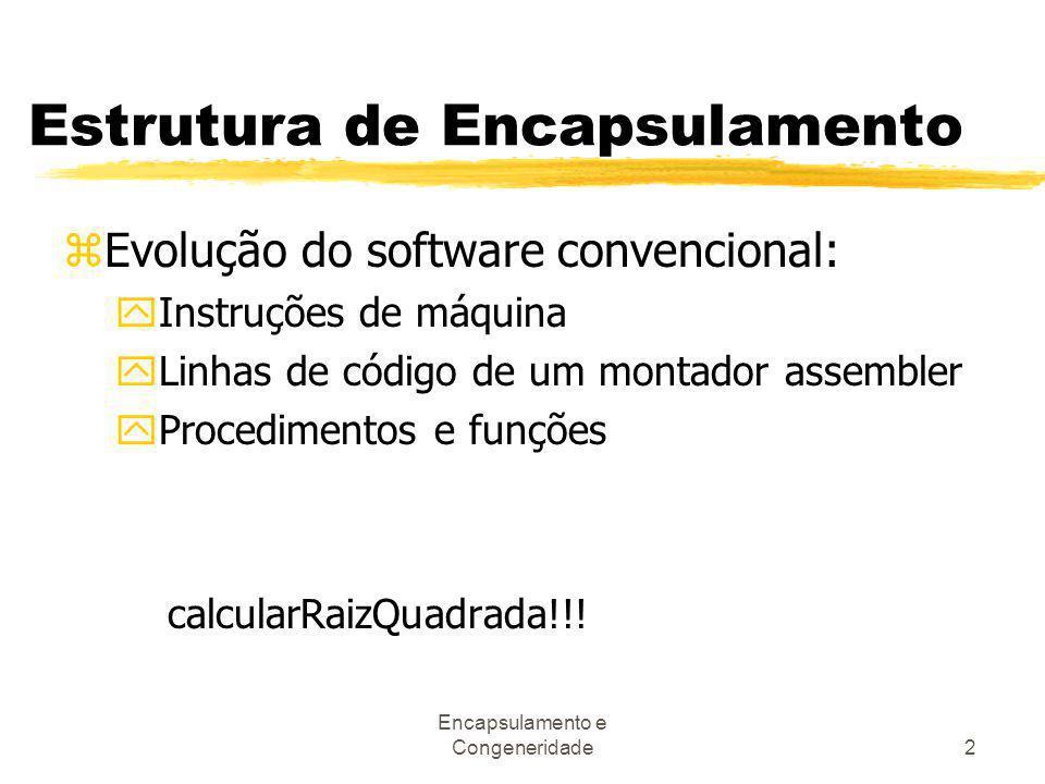 2 Estrutura de Encapsulamento zEvolução do software convencional: yInstruções de máquina yLinhas de código de um montador assembler yProcedimentos e f