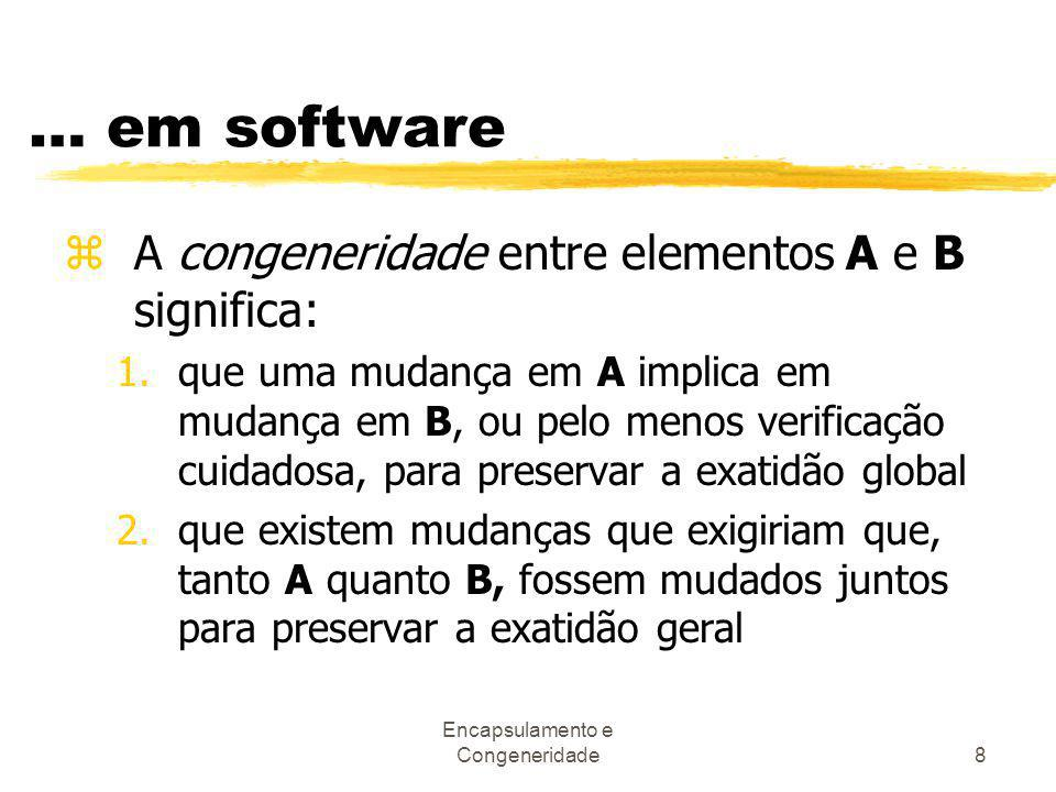 Encapsulamento e Congeneridade8 … em software zA congeneridade entre elementos A e B significa: 1.que uma mudança em A implica em mudança em B, ou pel