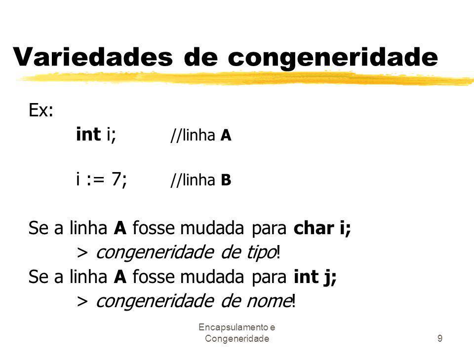 Encapsulamento e Congeneridade9 Variedades de congeneridade Ex: int i; //linha A i := 7; //linha B Se a linha A fosse mudada para char i; > congenerid