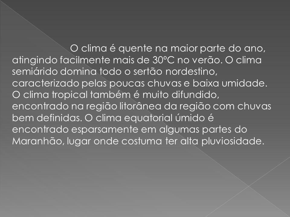 O Relevo Uma das características do relevo nordestino é a existência de dois antigos e extensos planaltos, o Borborema e a bacia do rio Parnaíba e de algumas áreas altas e planas que formam as chamadas chapadas, como a Diamantina, onde se localiza o ponto mais elevado da região, o Pico do Barbado com 2.033 metros de altitude, na Bahia, e a do Araripe, nas divisas entre os Estados do Ceará, Piauí, Pernambuco e a Paraíba.