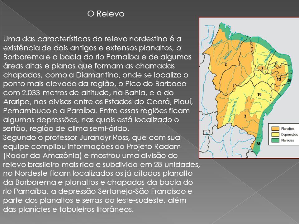 O Relevo Uma das características do relevo nordestino é a existência de dois antigos e extensos planaltos, o Borborema e a bacia do rio Parnaíba e de