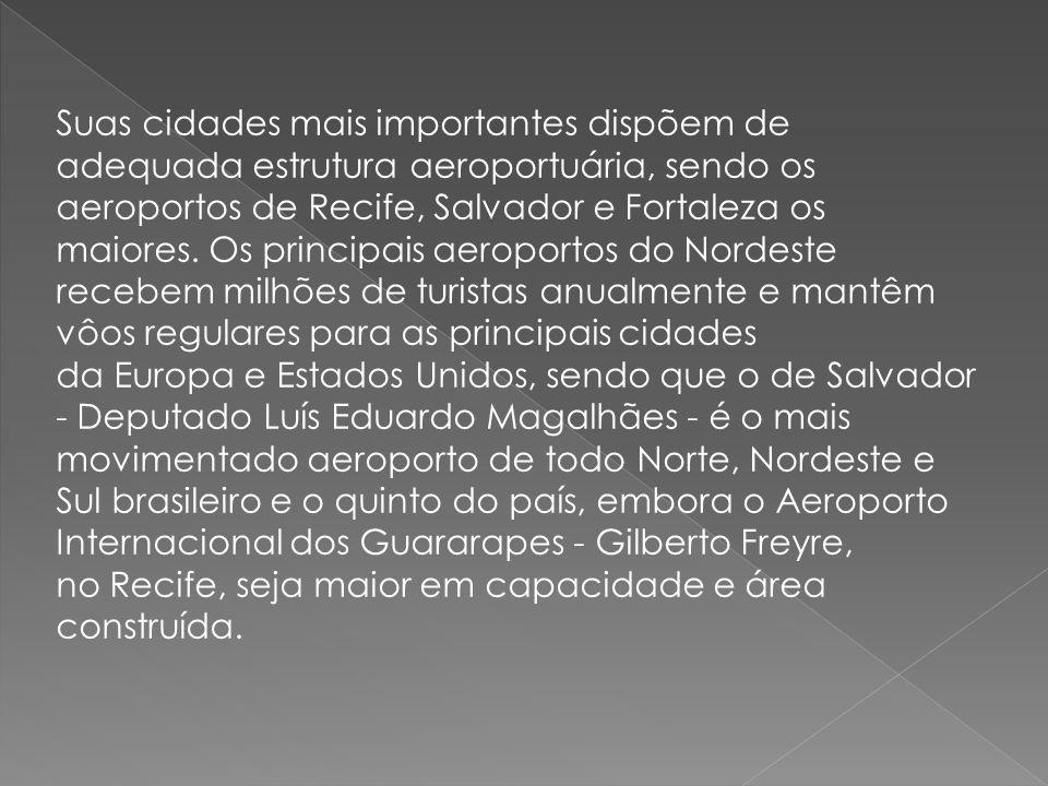 Suas cidades mais importantes dispõem de adequada estrutura aeroportuária, sendo os aeroportos de Recife, Salvador e Fortaleza os maiores. Os principa