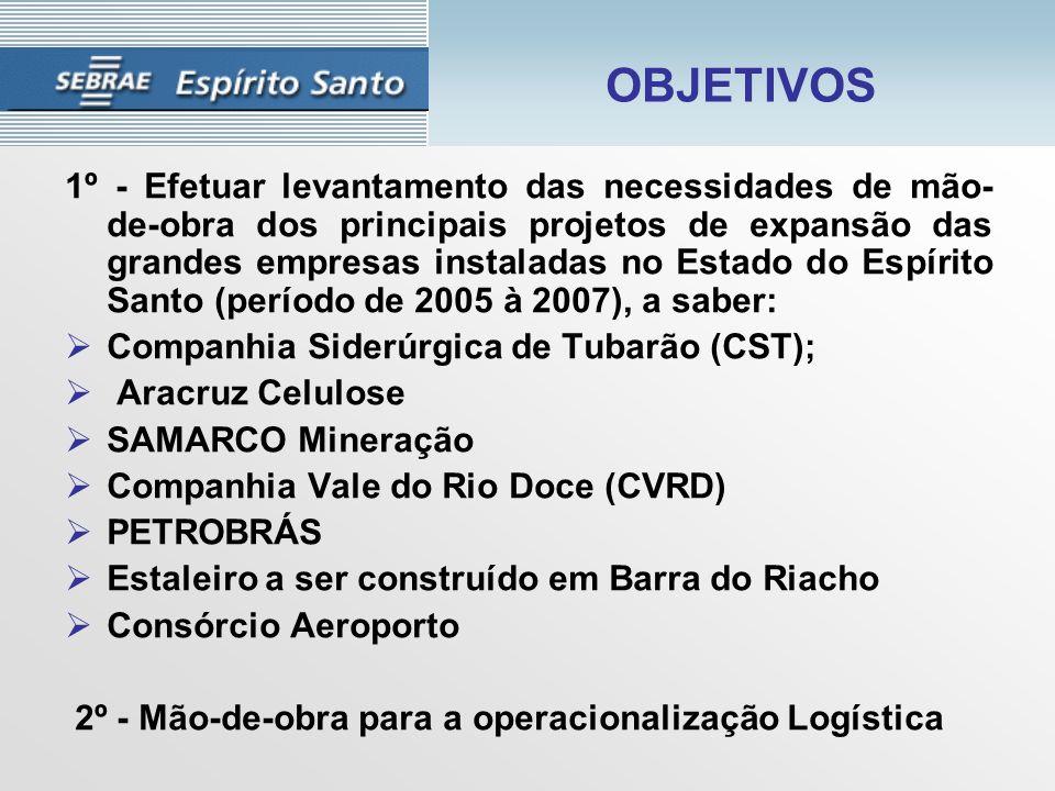 OBJETIVOS 1º - Efetuar levantamento das necessidades de mão- de-obra dos principais projetos de expansão das grandes empresas instaladas no Estado do Espírito Santo (período de 2005 à 2007), a saber:  Companhia Siderúrgica de Tubarão (CST);  Aracruz Celulose  SAMARCO Mineração  Companhia Vale do Rio Doce (CVRD)  PETROBRÁS  Estaleiro a ser construído em Barra do Riacho  Consórcio Aeroporto 2º - Mão-de-obra para a operacionalização Logística