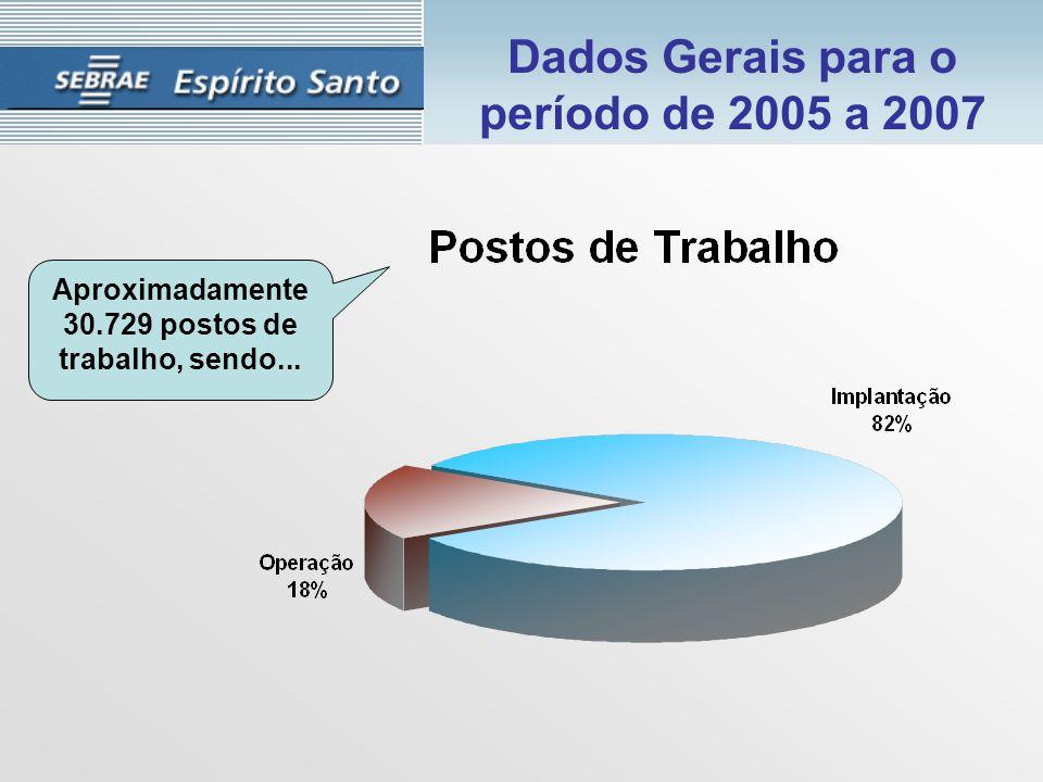 Dados Gerais para o período de 2005 a 2007 Aproximadamente 30.729 postos de trabalho, sendo...