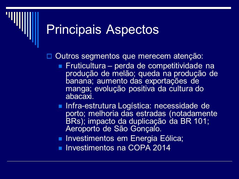 Principais Aspectos  Outros segmentos que merecem atenção: Fruticultura – perda de competitividade na produção de melão; queda na produção de banana;