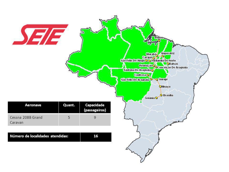 AeronaveQuant.Capacidade (passageiros) Cessna 208B Grand Caravan 59 Número de localidades atendidas:16