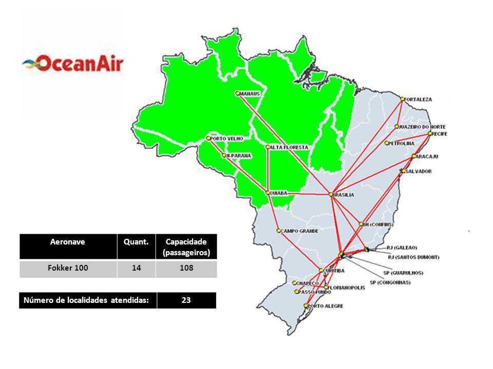 AeronaveQuant.Capacidade (passageiros) Fokker 10014108 Número de localidades atendidas:23