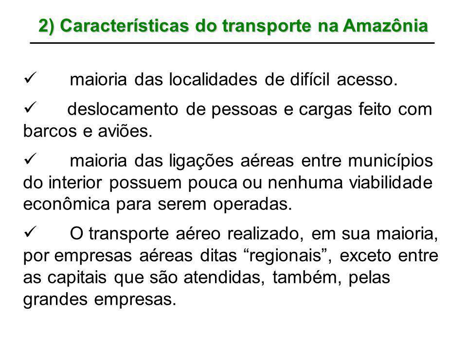 2) Características do transporte na Amazônia maioria das localidades de difícil acesso. deslocamento de pessoas e cargas feito com barcos e aviões. ma