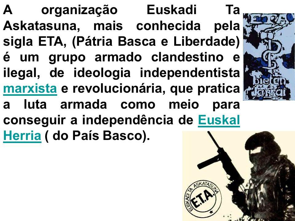 QUESTÃO BASCA Países envolvidos França e Espanha Causas do conflito Diferenças étnicas entre os espanhóis, franceses e o povo Basco. Interesses políti