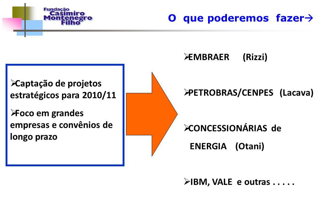 O que poderemos fazer   Captação de projetos estratégicos para 2010/11  Foco em grandes empresas e convênios de longo prazo  EMBRAER (Rizzi)  PET