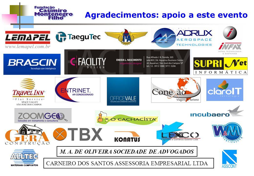 Agradecimentos: apoio a este evento CARNEIRO DOS SANTOS ASSESSORIA EMPRESARIAL LTDA M. A. DE OLIVEIRA SOCIEDADE DE ADVOGADOS