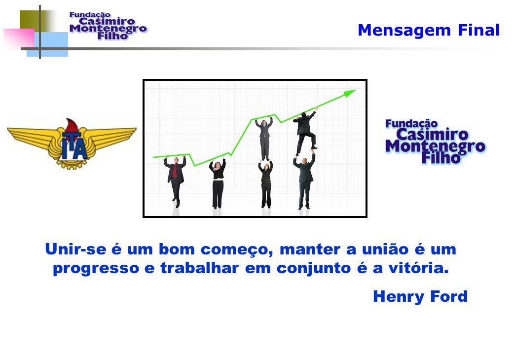 Mensagem Final Unir-se é um bom começo, manter a união é um progresso e trabalhar em conjunto é a vitória. Henry Ford