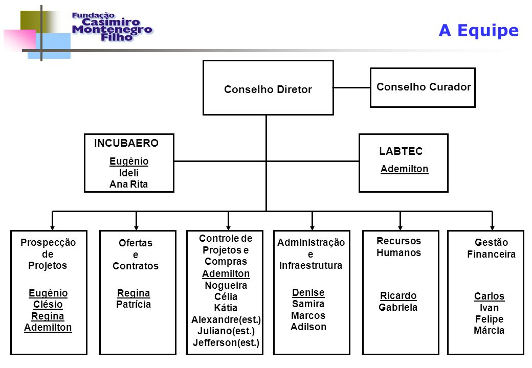 A Equipe Conselho Diretor Prospecção de Projetos Ofertas e Contratos Controle de Projetos e Compras Administração e Infraestrutura Gestão Financeira R