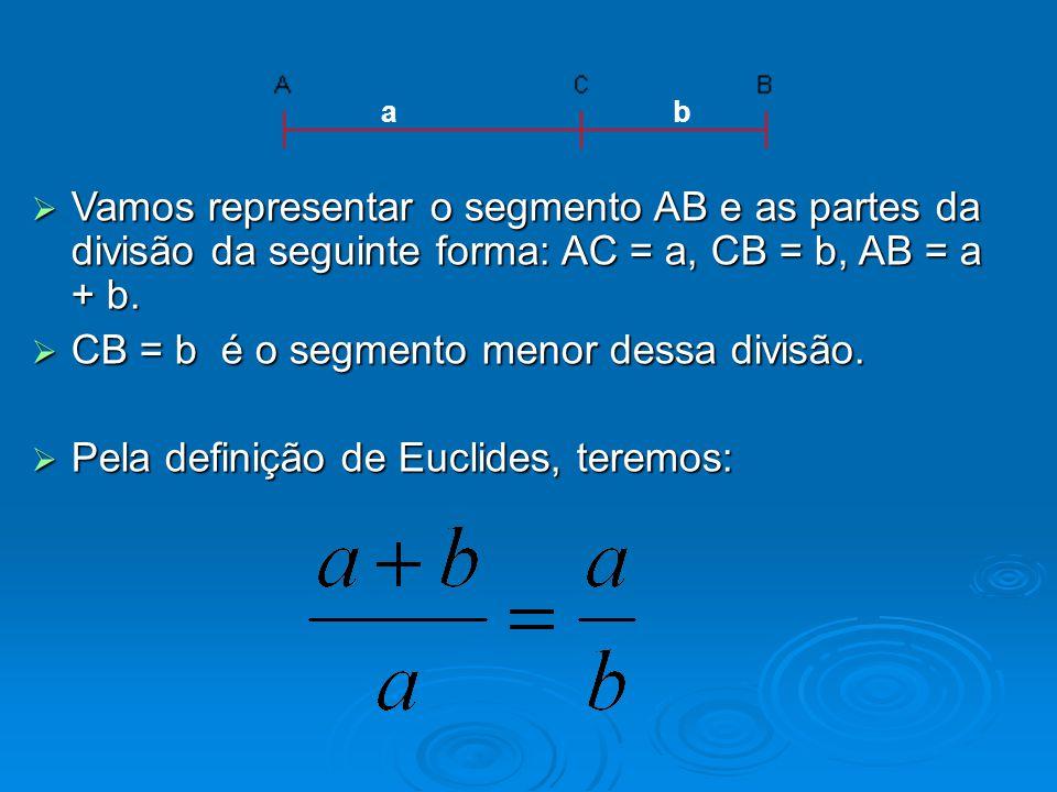  Vamos representar o segmento AB e as partes da divisão da seguinte forma: AC = a, CB = b, AB = a + b.  CB = b é o segmento menor dessa divisão.  P