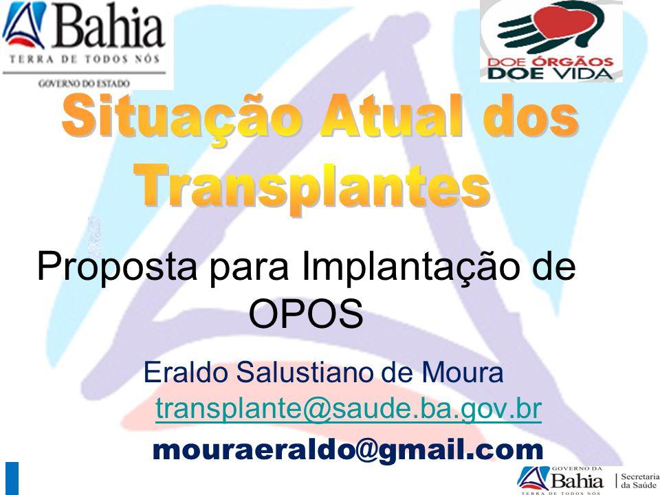 Necessidade transplantes realizados Necessidade (pmp): rim: 70 fígado: 25 coração: 08 Pulmão 08 Córnea 90