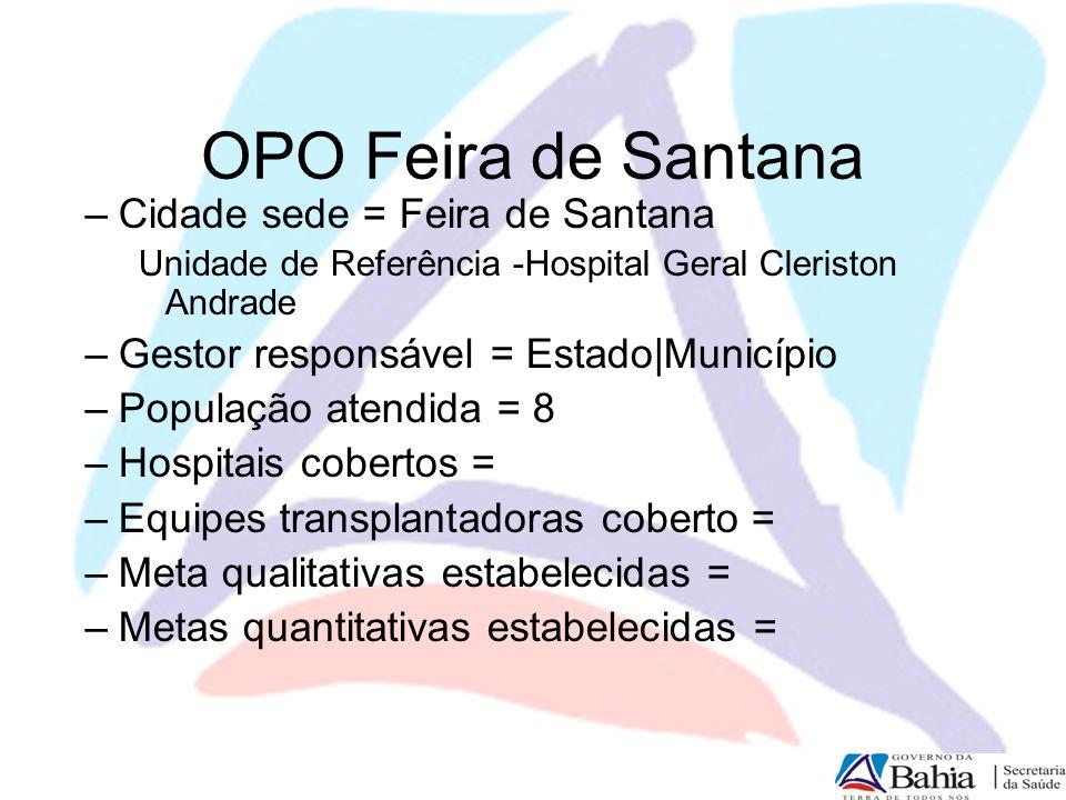 OPO Feira de Santana –Cidade sede = Feira de Santana Unidade de Referência -Hospital Geral Cleriston Andrade –Gestor responsável = Estado|Município –P