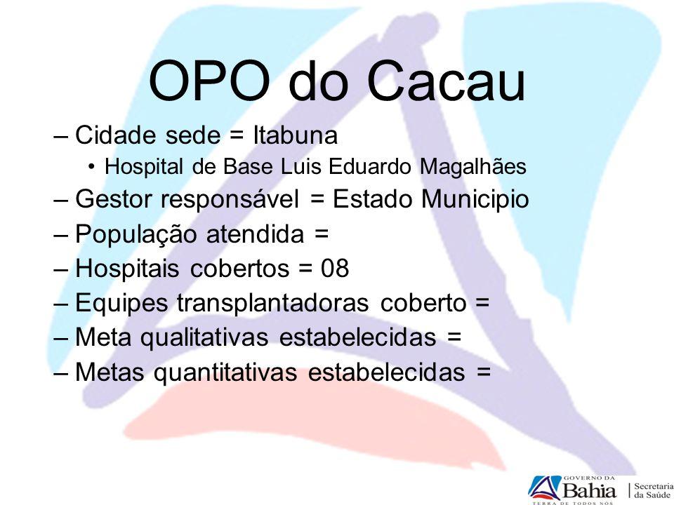 OPO do Cacau –Cidade sede = Itabuna Hospital de Base Luis Eduardo Magalhães –Gestor responsável = Estado Municipio –População atendida = –Hospitais co