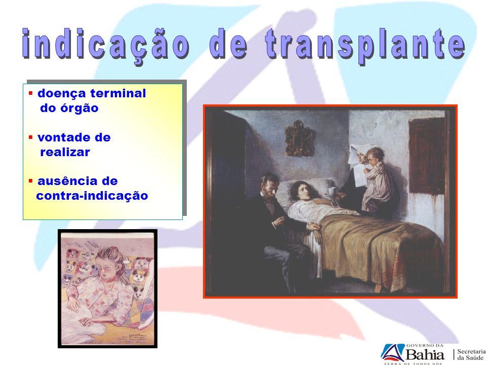  doença terminal do órgão  vontade de realizar  ausência de contra-indicação  doença terminal do órgão  vontade de realizar  ausência de contra-