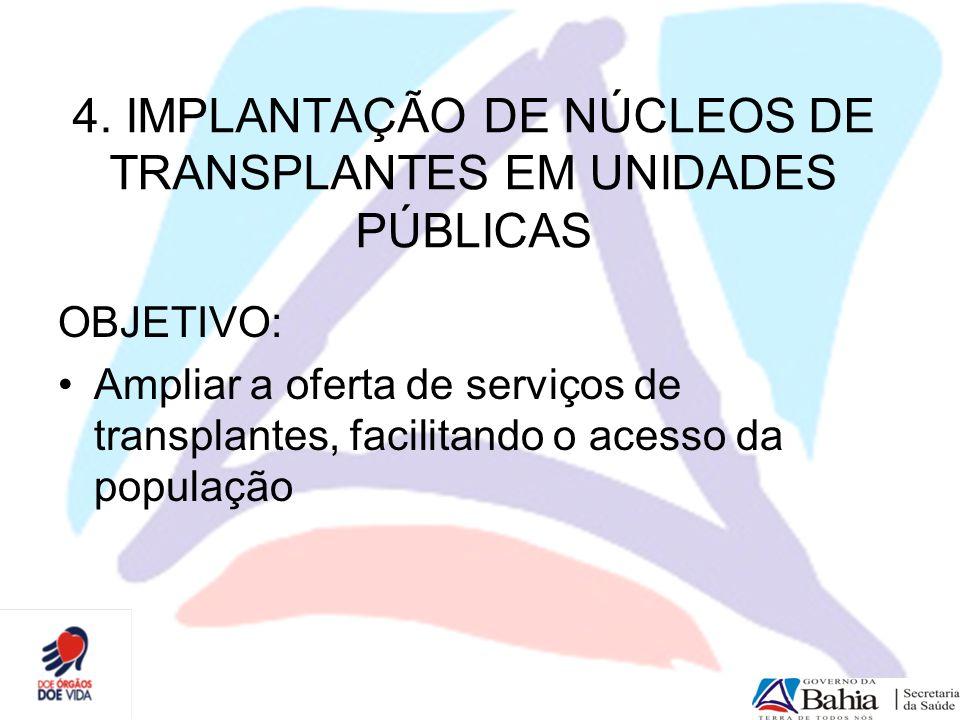 4. IMPLANTAÇÃO DE NÚCLEOS DE TRANSPLANTES EM UNIDADES PÚBLICAS OBJETIVO: Ampliar a oferta de serviços de transplantes, facilitando o acesso da populaç