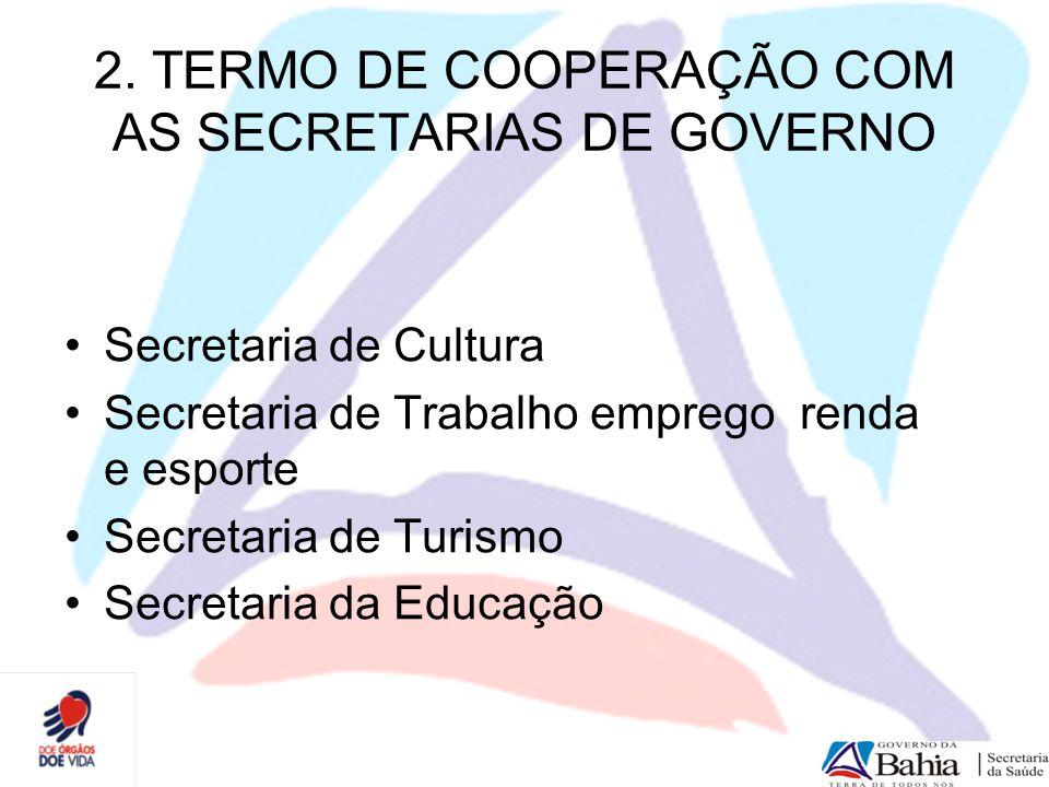 2. TERMO DE COOPERAÇÃO COM AS SECRETARIAS DE GOVERNO Secretaria de Cultura Secretaria de Trabalho emprego renda e esporte Secretaria de Turismo Secret