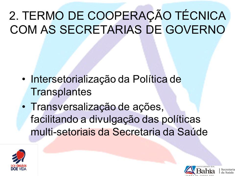 2. TERMO DE COOPERAÇÃO TÉCNICA COM AS SECRETARIAS DE GOVERNO Intersetorialização da Política de Transplantes Transversalização de ações, facilitando a
