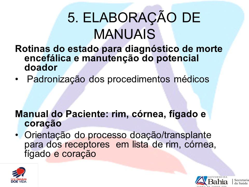 5. ELABORAÇÃO DE MANUAIS Rotinas do estado para diagnóstico de morte encefálica e manutenção do potencial doador Padronização dos procedimentos médico