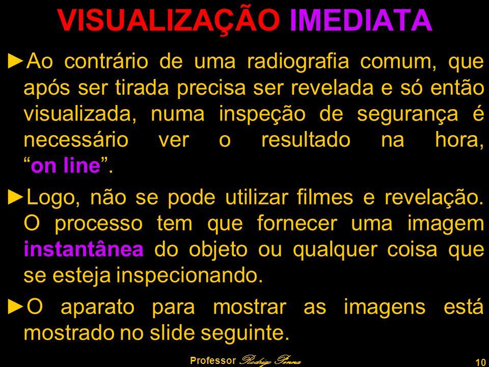 10 Professor Rodrigo Penna VISUALIZAÇÃO IMEDIATA ►Ao contrário de uma radiografia comum, que após ser tirada precisa ser revelada e só então visualiza