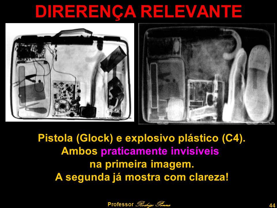 44 Professor Rodrigo Penna DIRERENÇA RELEVANTE Pistola (Glock) e explosivo plástico (C4). Ambos praticamente invisíveis na primeira imagem. A segunda