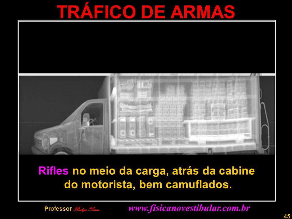 45 TRÁFICO DE ARMAS Rifles no meio da carga, atrás da cabine do motorista, bem camuflados. Professor Rodrigo Penna www.fisicanovestibular.com.br