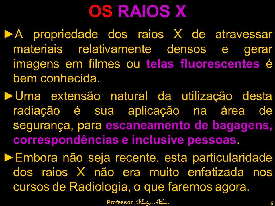 6 Professor Rodrigo Penna OS RAIOS X ►A propriedade dos raios X de atravessar materiais relativamente densos e gerar imagens em filmes ou telas fluore