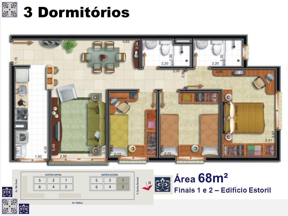 3 Dormitórios Área 68m² Finais 1 e 2 – Edifício Estoril