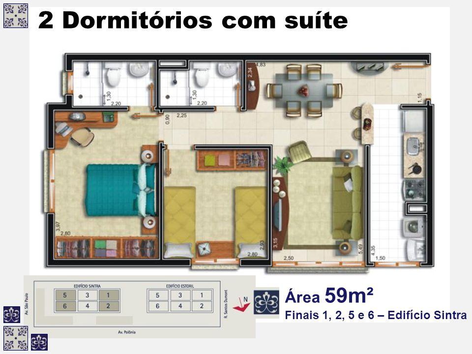 2 Dormitórios com suíte Área 59m² Finais 1, 2, 5 e 6 – Edifício Sintra