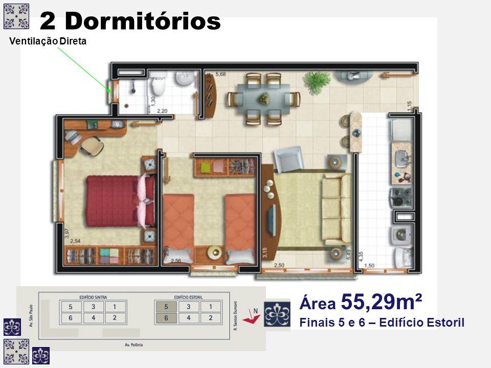 Ventilação Direta 2 Dormitórios Área 55,29m² Finais 5 e 6 – Edifício Estoril