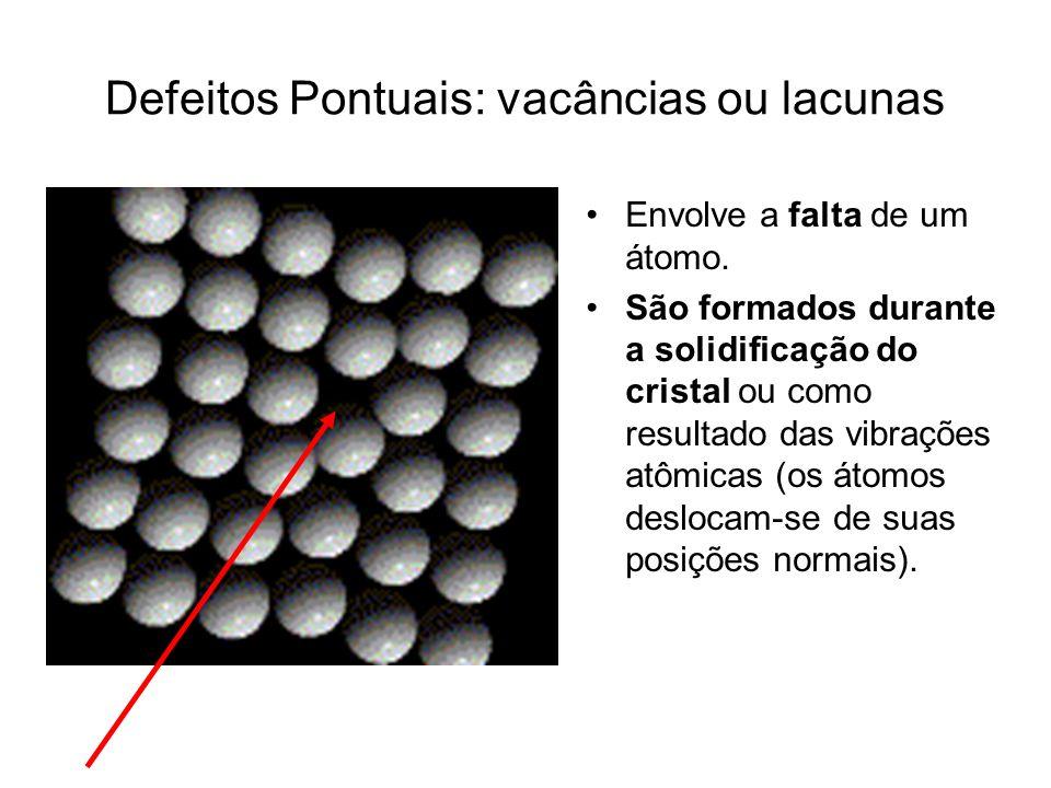 Defeitos Pontuais: vacâncias ou lacunas Envolve a falta de um átomo. São formados durante a solidificação do cristal ou como resultado das vibrações a