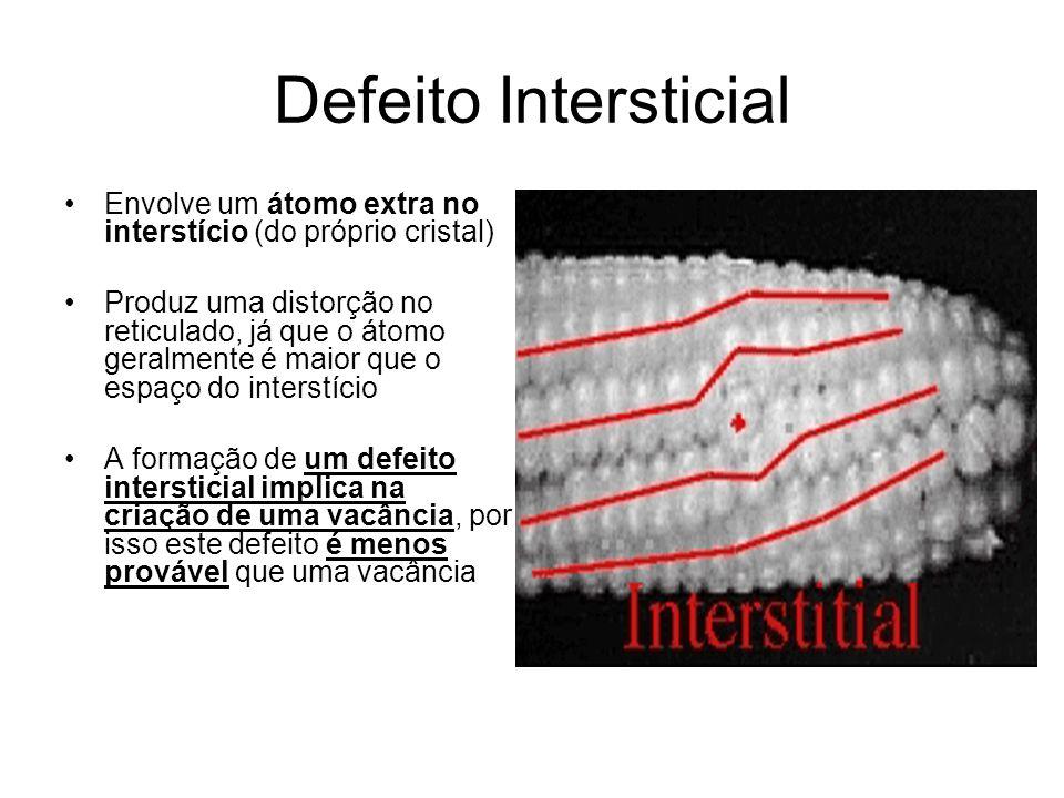 Defeito Intersticial Envolve um átomo extra no interstício (do próprio cristal) Produz uma distorção no reticulado, já que o átomo geralmente é maior que o espaço do interstício A formação de um defeito intersticial implica na criação de uma vacância, por isso este defeito é menos provável que uma vacância