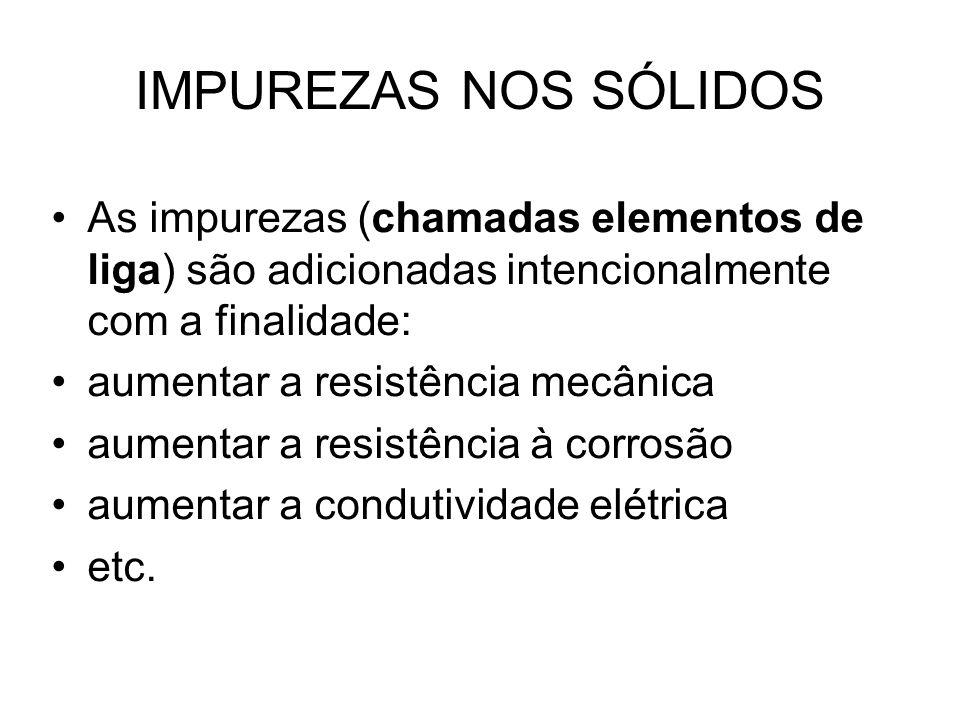 IMPUREZAS NOS SÓLIDOS As impurezas (chamadas elementos de liga) são adicionadas intencionalmente com a finalidade: aumentar a resistência mecânica aum
