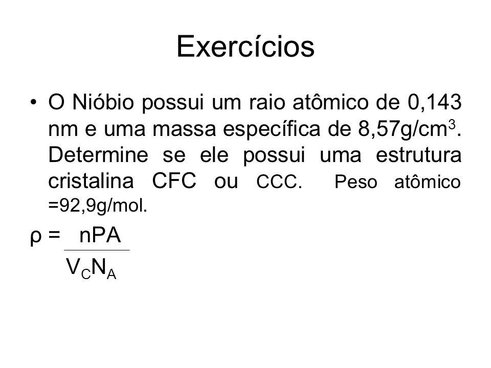 Exercícios O Nióbio possui um raio atômico de 0,143 nm e uma massa específica de 8,57g/cm 3. Determine se ele possui uma estrutura cristalina CFC ou C