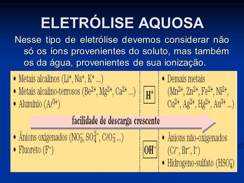 ELETRÓLISE AQUOSA Nesse tipo de eletrólise devemos considerar não só os íons provenientes do soluto, mas também os da água, provenientes de sua ionização.